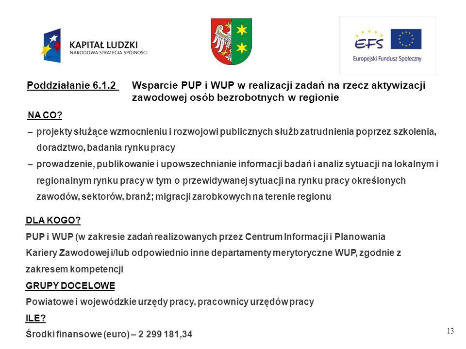 13 Poddziałanie 6.1.2Wsparcie PUP i WUP w realizacji zadań na rzecz aktywizacji zawodowej osób bezrobotnych w regionie NA CO.