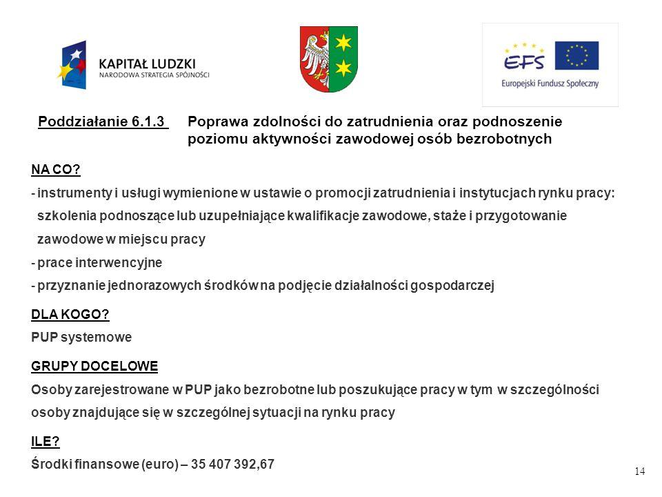14 Poddziałanie 6.1.3Poprawa zdolności do zatrudnienia oraz podnoszenie poziomu aktywności zawodowej osób bezrobotnych NA CO.