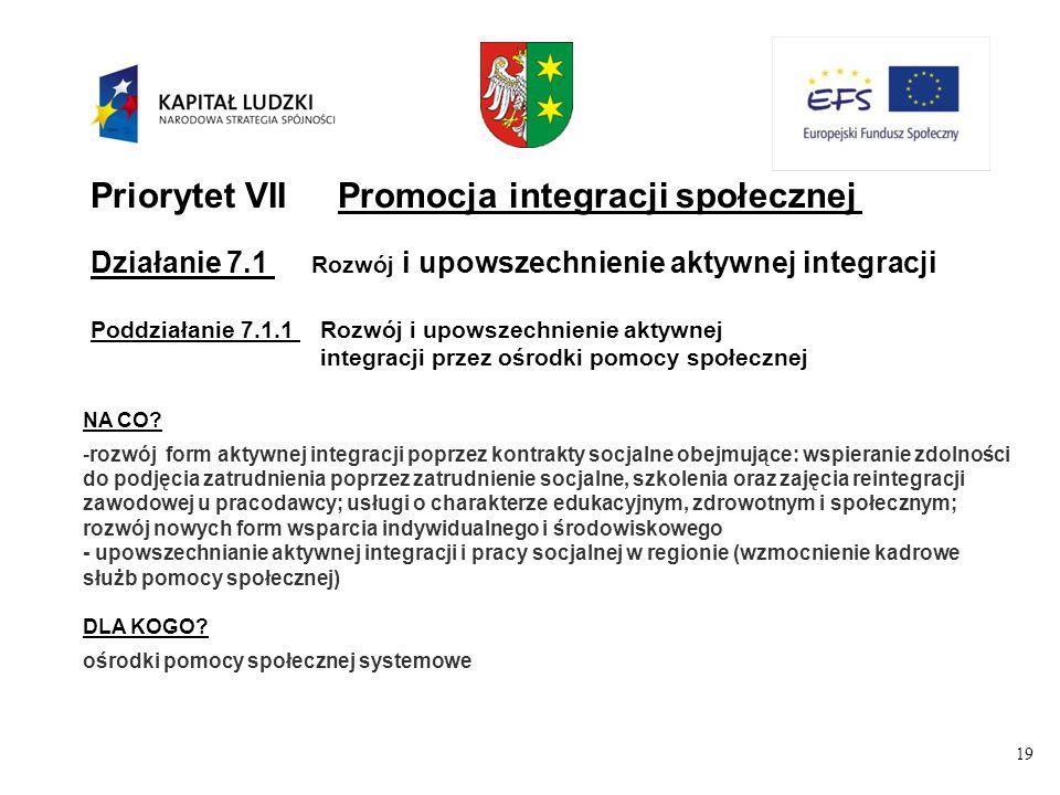 19 Priorytet VIIPromocja integracji społecznej Działanie 7.1 Rozwój i upowszechnienie aktywnej integracji Poddziałanie 7.1.1Rozwój i upowszechnienie aktywnej integracji przez ośrodki pomocy społecznej NA CO.