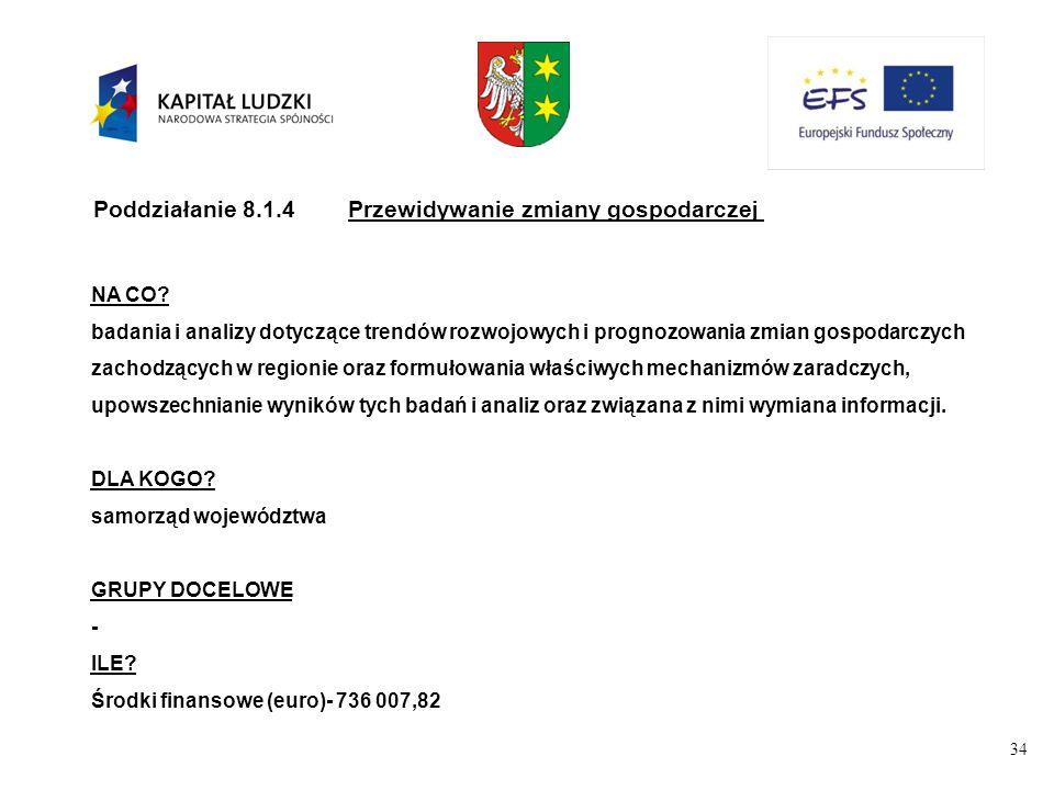 34 Poddziałanie 8.1.4Przewidywanie zmiany gospodarczej NA CO.
