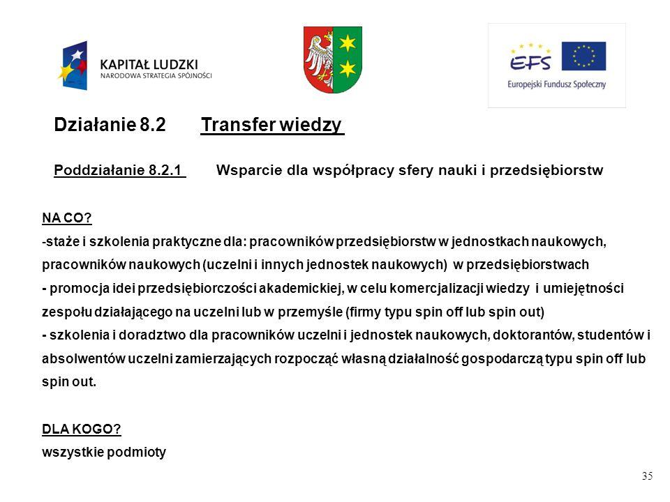 35 Działanie 8.2Transfer wiedzy Poddziałanie 8.2.1Wsparcie dla współpracy sfery nauki i przedsiębiorstw NA CO.