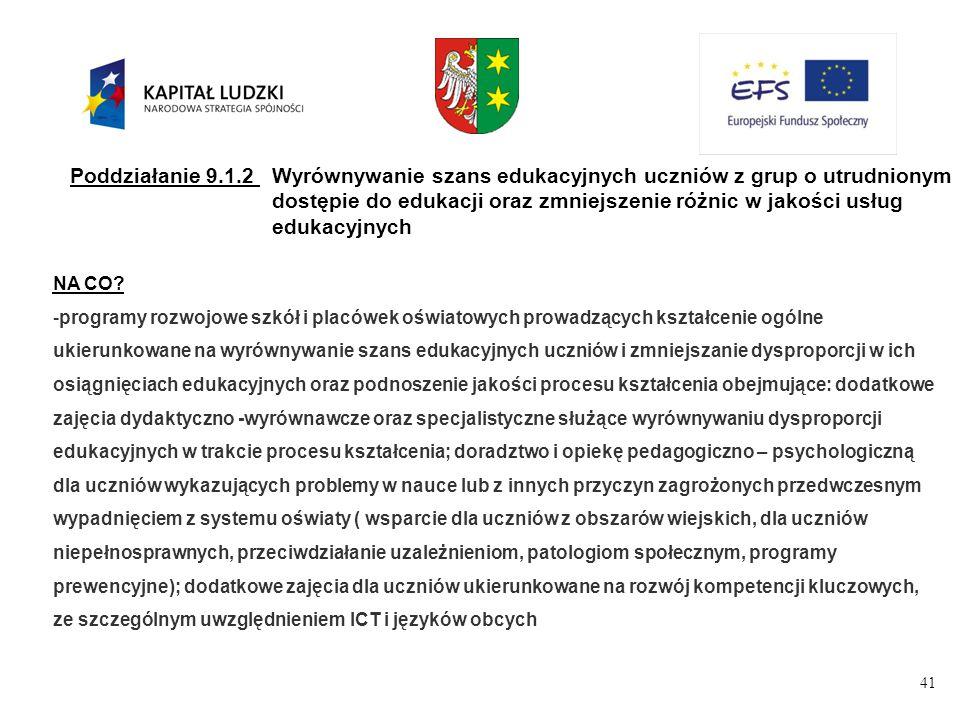 41 Poddziałanie 9.1.2Wyrównywanie szans edukacyjnych uczniów z grup o utrudnionym dostępie do edukacji oraz zmniejszenie różnic w jakości usług edukacyjnych NA CO.