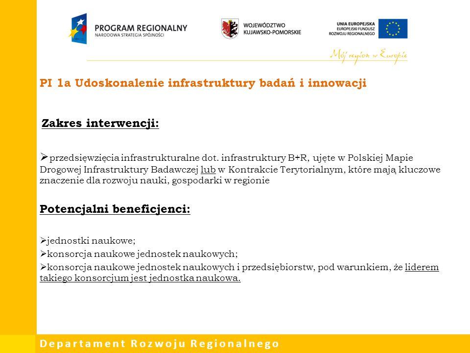 Departament Rozwoju Regionalnego Zakres interwencji:  przedsięwzięcia infrastrukturalne dot. infrastruktury B+R, ujęte w Polskiej Mapie Drogowej Infr