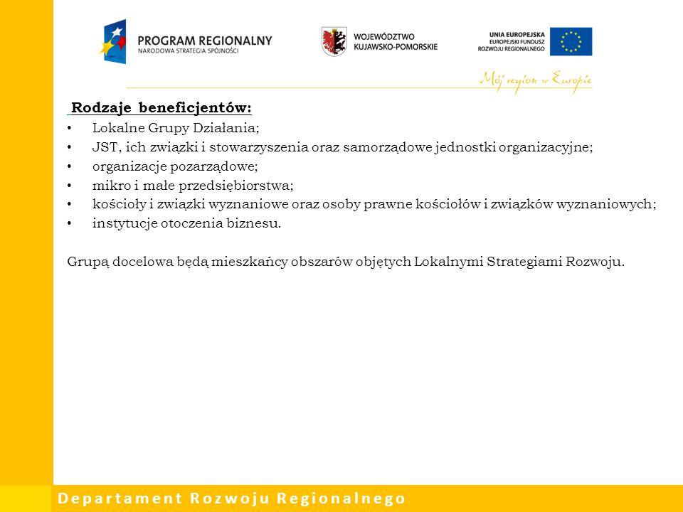 Departament Rozwoju Regionalnego Rodzaje beneficjentów: Lokalne Grupy Działania; JST, ich związki i stowarzyszenia oraz samorządowe jednostki organiza