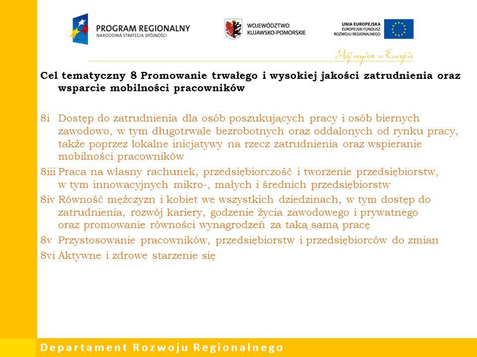 Departament Rozwoju Regionalnego Cel tematyczny 8 Promowanie trwałego i wysokiej jakości zatrudnienia oraz wsparcie mobilności pracowników 8iDostęp do