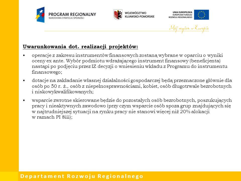 Departament Rozwoju Regionalnego Uwarunkowania dot. realizacji projektów: operacje z zakresu instrumentów finansowych zostaną wybrane w oparciu o wyni
