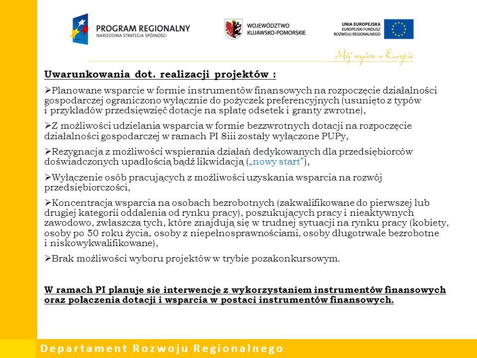 Departament Rozwoju Regionalnego Uwarunkowania dot. realizacji projektów :  Planowane wsparcie w formie instrumentów finansowych na rozpoczęcie dział