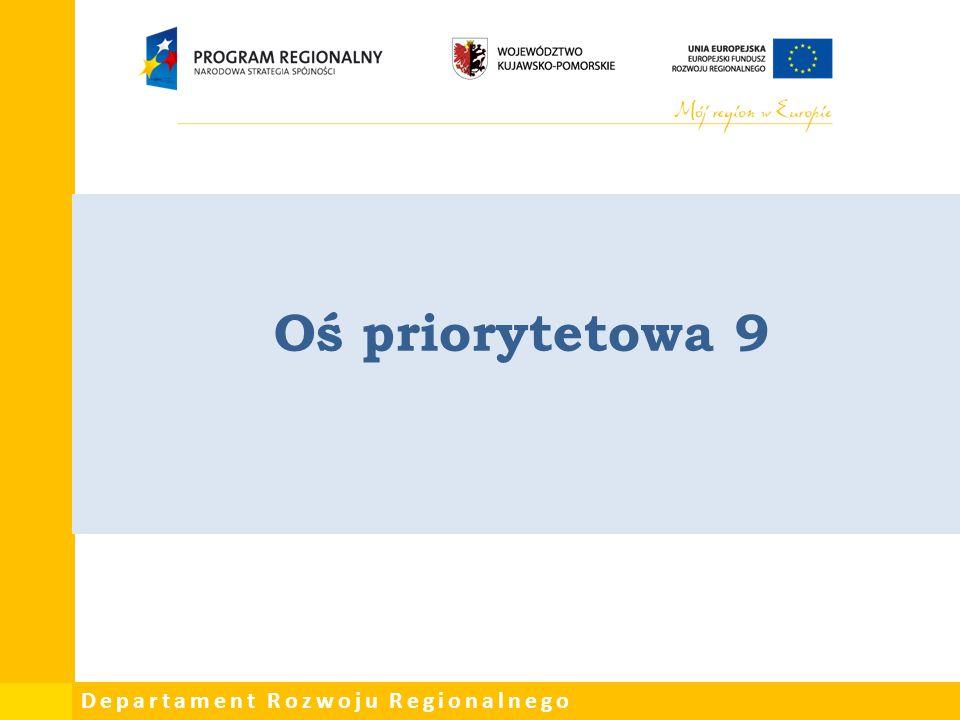 Departament Rozwoju Regionalnego Oś priorytetowa 9
