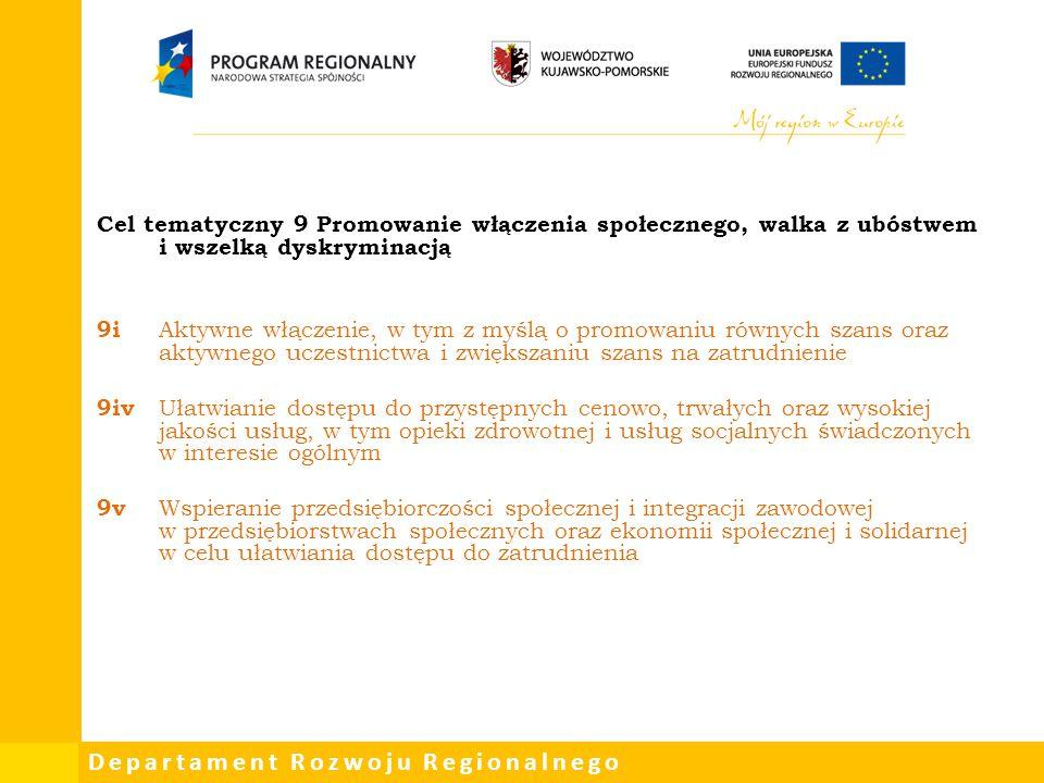 Departament Rozwoju Regionalnego Cel tematyczny 9 Promowanie włączenia społecznego, walka z ubóstwem i wszelką dyskryminacją 9i Aktywne włączenie, w t