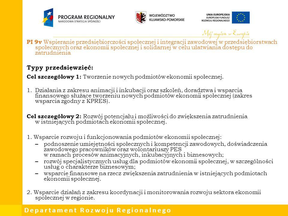 Departament Rozwoju Regionalnego PI 9v Wspieranie przedsiębiorczości społecznej i integracji zawodowej w przedsiębiorstwach społecznych oraz ekonomii