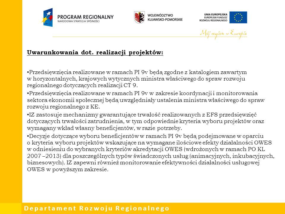 Departament Rozwoju Regionalnego Uwarunkowania dot. realizacji projektów: Przedsięwzięcia realizowane w ramach PI 9v będą zgodne z katalogiem zawartym