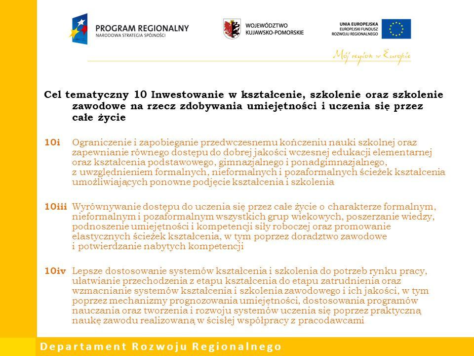 Departament Rozwoju Regionalnego Cel tematyczny 10 Inwestowanie w kształcenie, szkolenie oraz szkolenie zawodowe na rzecz zdobywania umiejętności i uc