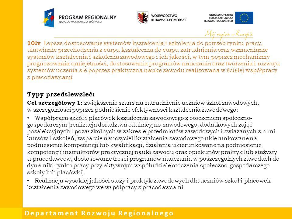Departament Rozwoju Regionalnego 10iv Lepsze dostosowanie systemów kształcenia i szkolenia do potrzeb rynku pracy, ułatwianie przechodzenia z etapu ks