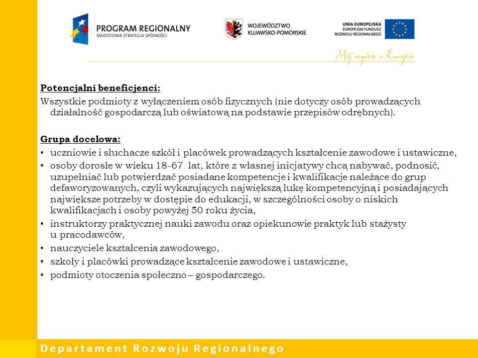 Departament Rozwoju Regionalnego Potencjalni beneficjenci: Wszystkie podmioty z wyłączeniem osób fizycznych (nie dotyczy osób prowadzących działalność