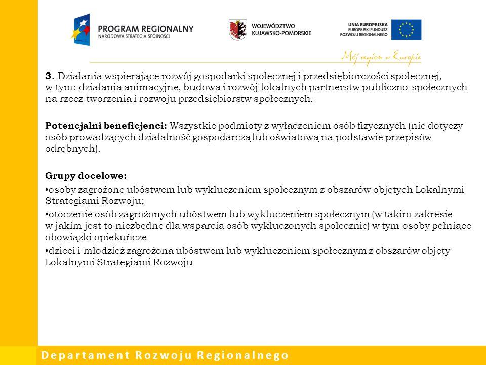 Departament Rozwoju Regionalnego 3. Działania wspierające rozwój gospodarki społecznej i przedsiębiorczości społecznej, w tym: działania animacyjne, b