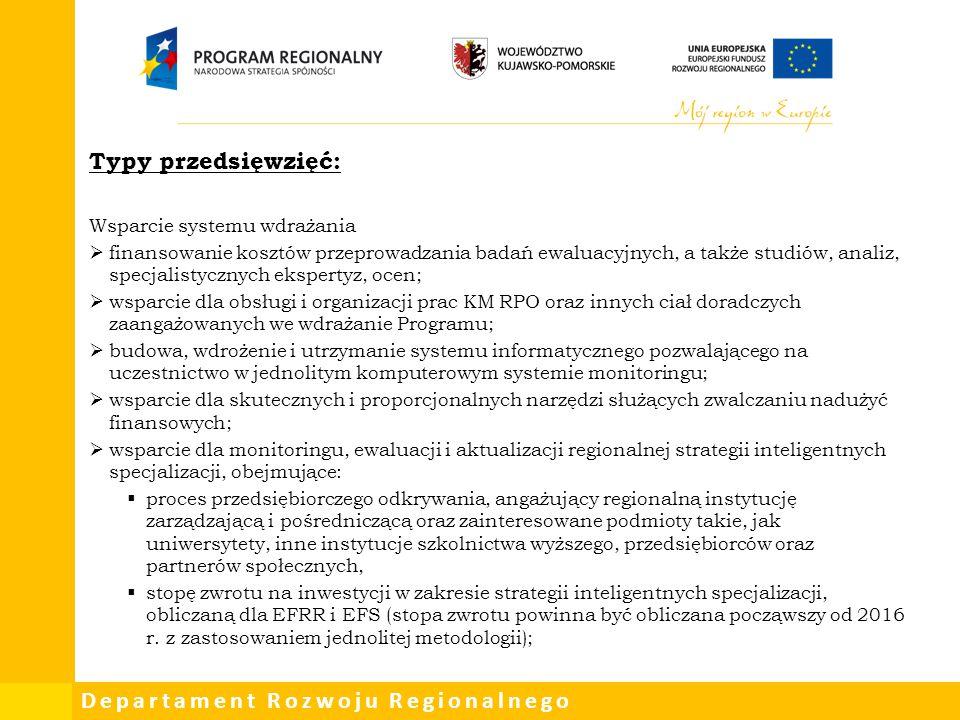 Departament Rozwoju Regionalnego Typy przedsięwzięć: Wsparcie systemu wdrażania  finansowanie kosztów przeprowadzania badań ewaluacyjnych, a także st