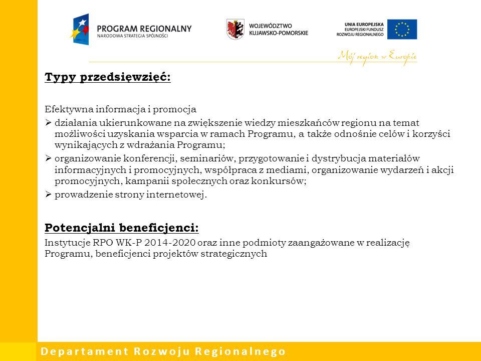 Departament Rozwoju Regionalnego Typy przedsięwzięć: Efektywna informacja i promocja  działania ukierunkowane na zwiększenie wiedzy mieszkańców regio