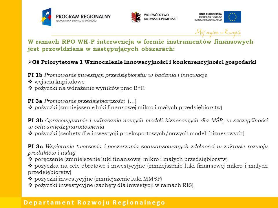 Departament Rozwoju Regionalnego W ramach RPO WK-P interwencja w formie instrumentów finansowych jest przewidziana w następujących obszarach:  Oś Pri