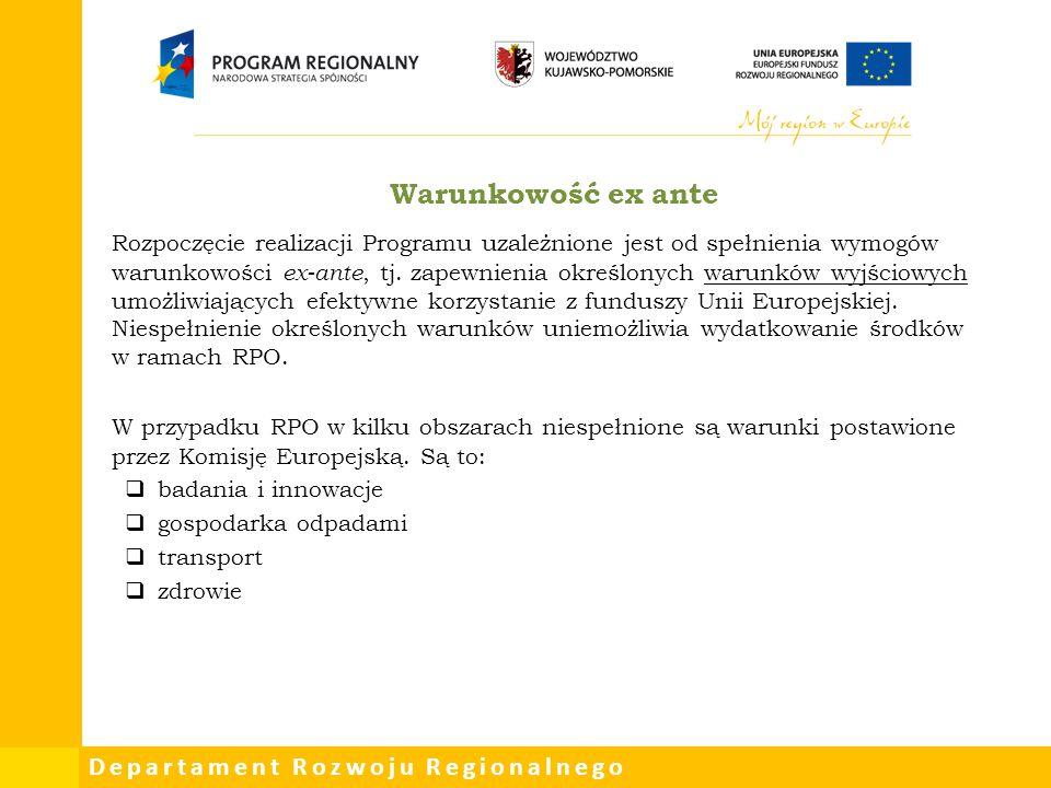 Departament Rozwoju Regionalnego Warunkowość ex ante Rozpoczęcie realizacji Programu uzależnione jest od spełnienia wymogów warunkowości ex-ante, tj.
