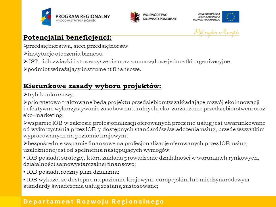 Departament Rozwoju Regionalnego Potencjalni beneficjenci:  przedsiębiorstwa, sieci przedsiębiorstw  instytucje otoczenia biznesu  JST, ich związki
