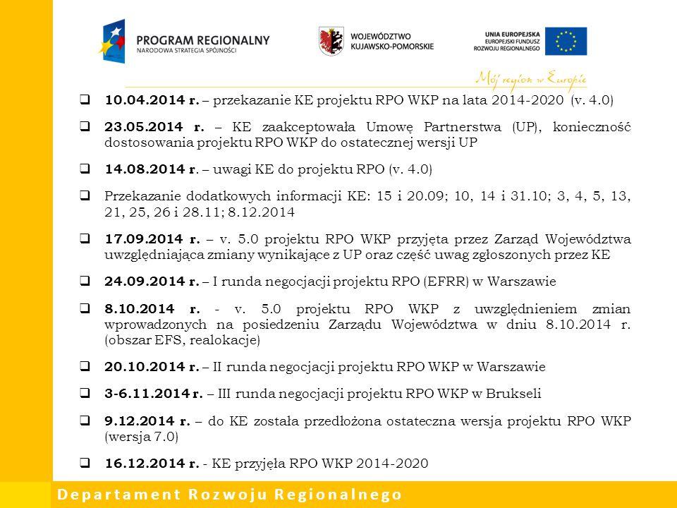 Departament Rozwoju Regionalnego  10.04.2014 r. – przekazanie KE projektu RPO WKP na lata 2014-2020 (v. 4.0)  23.05.2014 r. – KE zaakceptowała Umowę