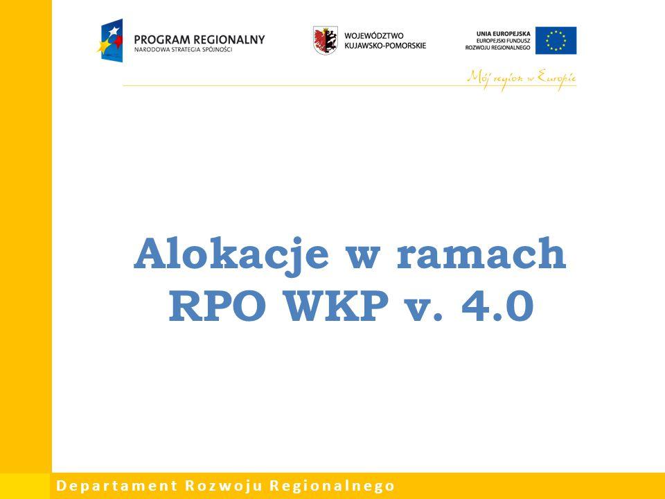 Departament Rozwoju Regionalnego Najważniejsze uwagi KE do RPO WKP :  odejście od wsparcia infrastruktury śródlądowych dróg wodnych i terminali przeładunkowych  wsparcie taboru autobusowego, spełniającego co najmniej normę emisji spalin EURO VI.