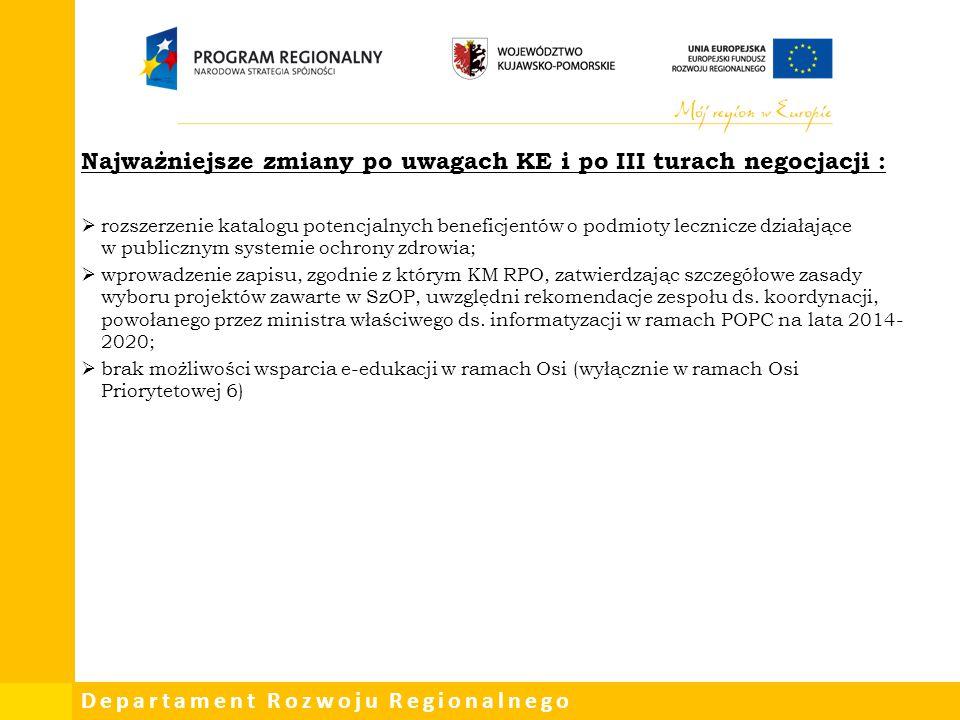 Departament Rozwoju Regionalnego Najważniejsze zmiany po uwagach KE i po III turach negocjacji :  rozszerzenie katalogu potencjalnych beneficjentów o