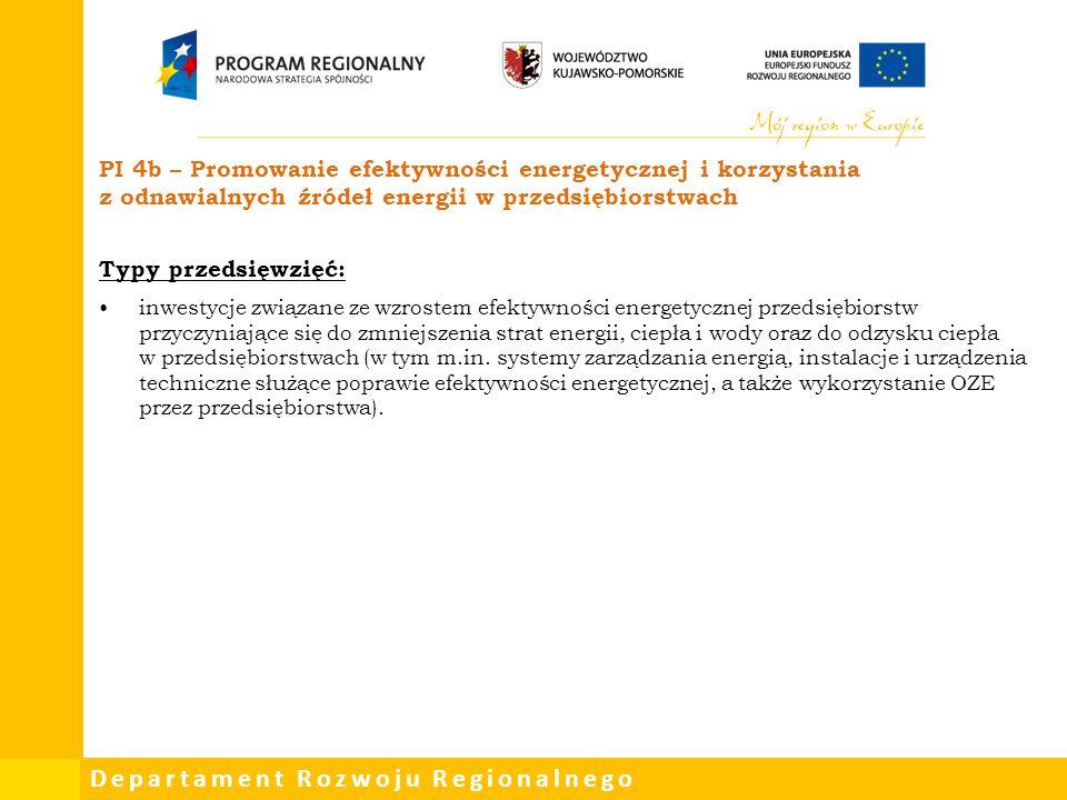 Departament Rozwoju Regionalnego PI 4b – Promowanie efektywności energetycznej i korzystania z odnawialnych źródeł energii w przedsiębiorstwach Typy p