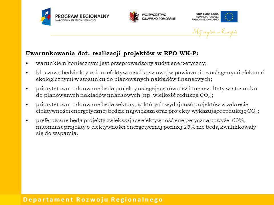 Departament Rozwoju Regionalnego Uwarunkowania dot. realizacji projektów w RPO WK-P: warunkiem koniecznym jest przeprowadzony audyt energetyczny; kluc