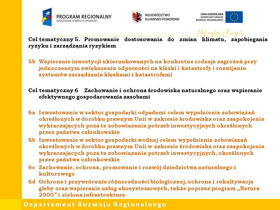 Departament Rozwoju Regionalnego Cel tematyczny 5.Promowanie dostosowania do zmian klimatu, zapobiegania ryzyku i zarządząnia ryzykiem 5bWspieranie in