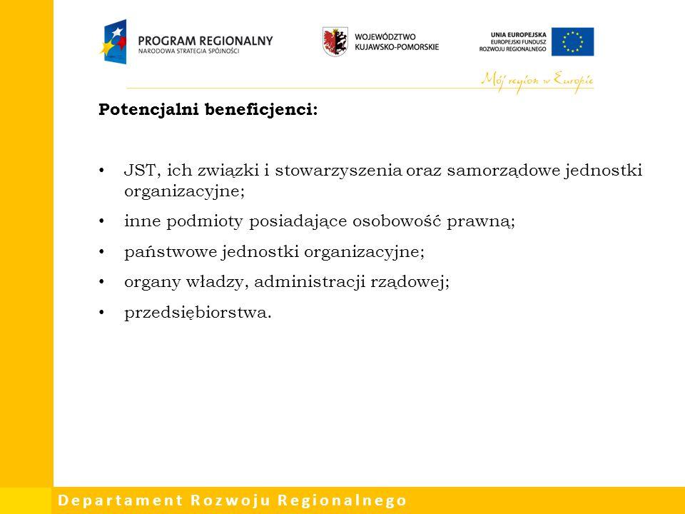 Departament Rozwoju Regionalnego Potencjalni beneficjenci: JST, ich związki i stowarzyszenia oraz samorządowe jednostki organizacyjne; inne podmioty p