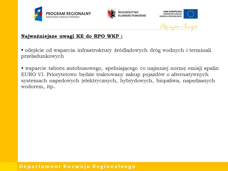 Departament Rozwoju Regionalnego Najważniejsze uwagi KE do RPO WKP :  odejście od wsparcia infrastruktury śródlądowych dróg wodnych i terminali przeł