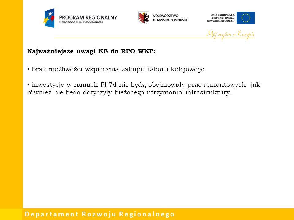 Departament Rozwoju Regionalnego Najważniejsze uwagi KE do RPO WKP: brak możliwości wspierania zakupu taboru kolejowego inwestycje w ramach PI 7d nie