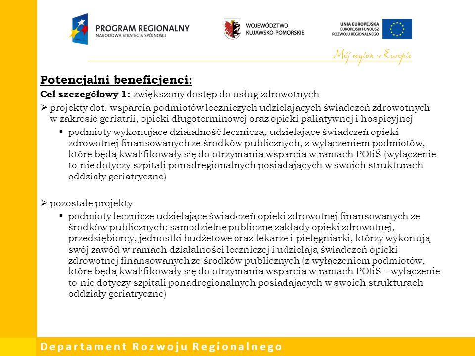 Departament Rozwoju Regionalnego Potencjalni beneficjenci: Cel szczegółowy 1: zwiększony dostęp do usług zdrowotnych  projekty dot. wsparcia podmiotó