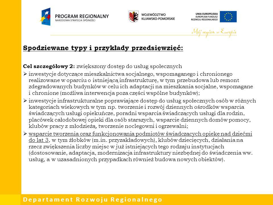 Departament Rozwoju Regionalnego Spodziewane typy i przykłady przedsięwzięć: Cel szczegółowy 2: zwiększony dostęp do usług społecznych  inwestycje do