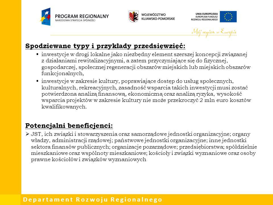 Departament Rozwoju Regionalnego Spodziewane typy i przykłady przedsięwzięć:  inwestycje w drogi lokalne jako niezbędny element szerszej koncepcji zw