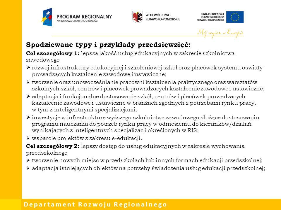 Departament Rozwoju Regionalnego Spodziewane typy i przykłady przedsięwzięć: Cel szczegółowy 1: lepsza jakość usług edukacyjnych w zakresie szkolnictw
