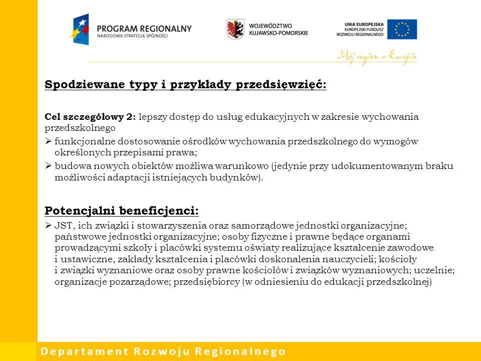 Departament Rozwoju Regionalnego Spodziewane typy i przykłady przedsięwzięć: Cel szczegółowy 2: lepszy dostęp do usług edukacyjnych w zakresie wychowa