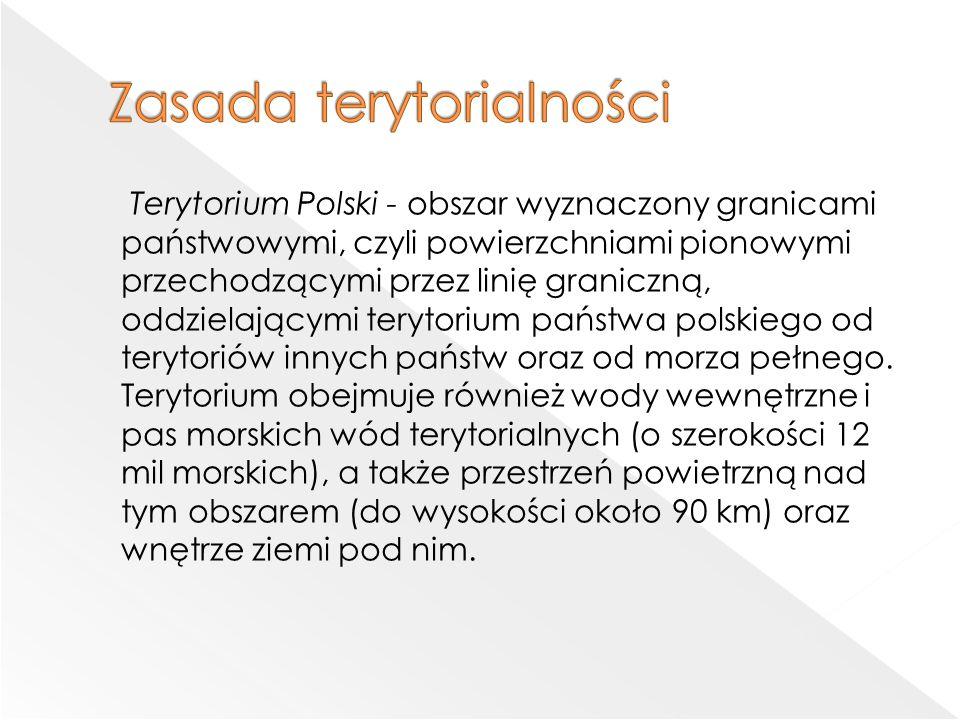 Terytorium Polski - obszar wyznaczony granicami państwowymi, czyli powierzchniami pionowymi przechodzącymi przez linię graniczną, oddzielającymi terytorium państwa polskiego od terytoriów innych państw oraz od morza pełnego.