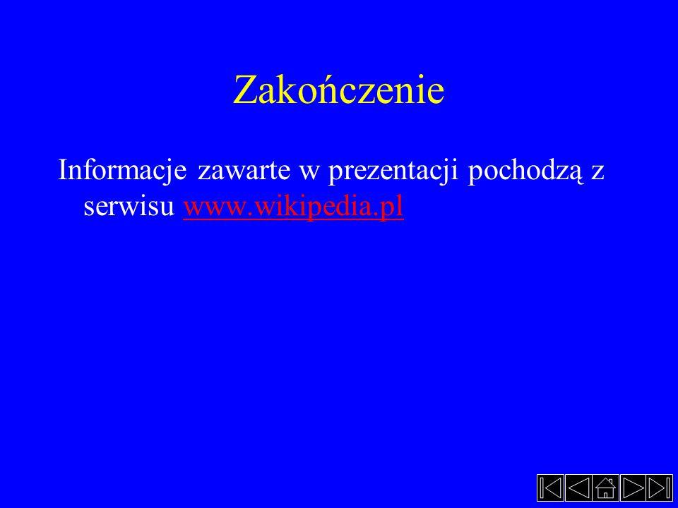 Zakończenie Informacje zawarte w prezentacji pochodzą z serwisu www.wikipedia.plwww.wikipedia.pl