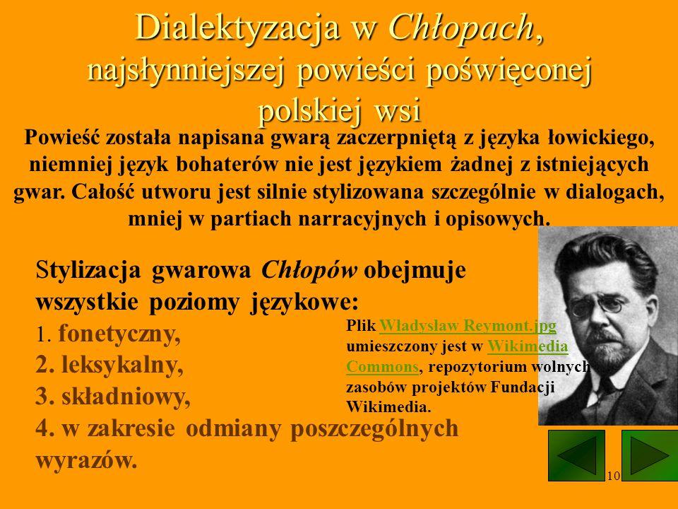 10 Dialektyzacja w Chłopach, najsłynniejszej powieści poświęconej polskiej wsi Powieść została napisana gwarą zaczerpniętą z języka łowickiego, niemni
