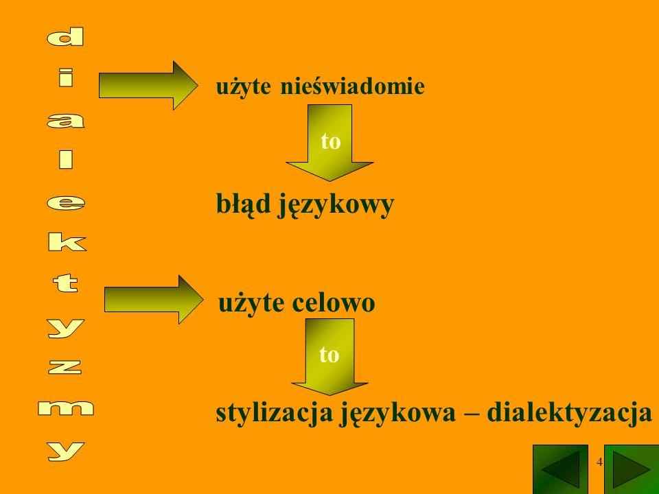"""5 Dialektyzmy nieświadome FONETYCZNELEKSYKALNE wymawianie głosek i ich połączeń w charakterystyczny sposób dla jakiejś gwary ludowej; wyrazy niewystępujące pierwotnie w języku ogólnym; """"cysty zamiast """"czysty , """"syć zamiast """"szyć dyć, jeno,"""
