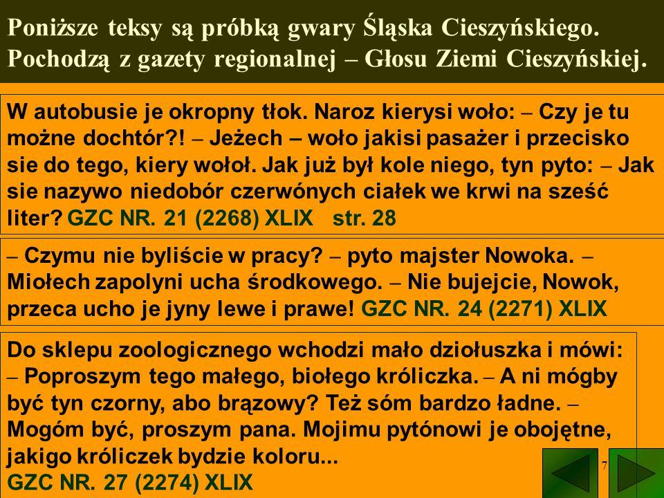 7 Poniższe teksy są próbką gwary Śląska Cieszyńskiego. Pochodzą z gazety regionalnej – Głosu Ziemi Cieszyńskiej. W autobusie je okropny tłok. Naroz ki