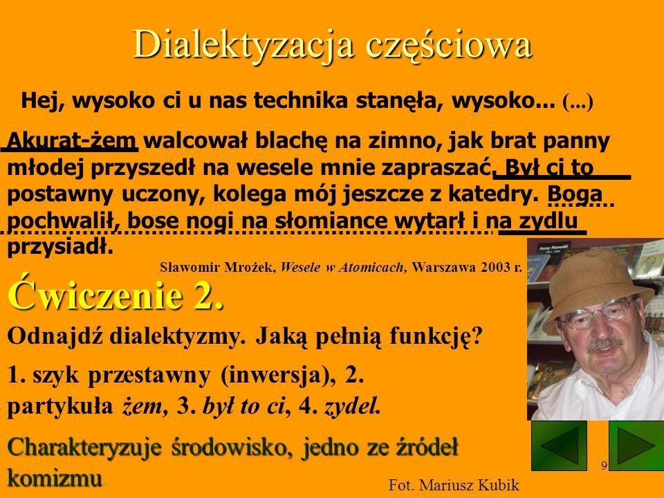 10 Dialektyzacja w Chłopach, najsłynniejszej powieści poświęconej polskiej wsi Powieść została napisana gwarą zaczerpniętą z języka łowickiego, niemniej język bohaterów nie jest językiem żadnej z istniejących gwar.