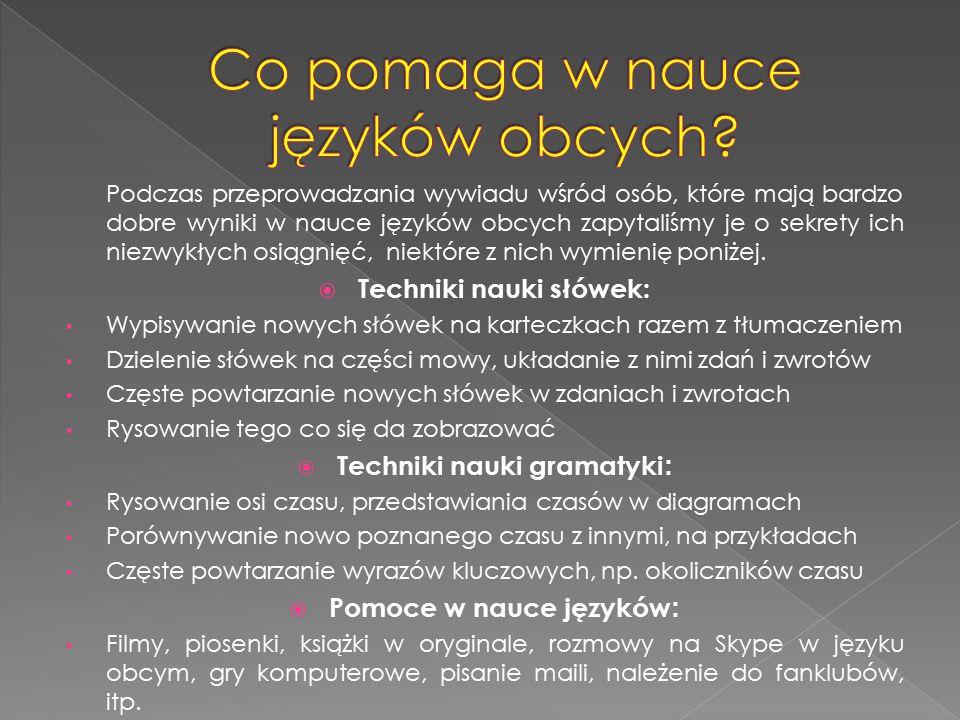 Podczas przeprowadzania wywiadu wśród osób, które mają bardzo dobre wyniki w nauce języków obcych zapytaliśmy je o sekrety ich niezwykłych osiągnięć,