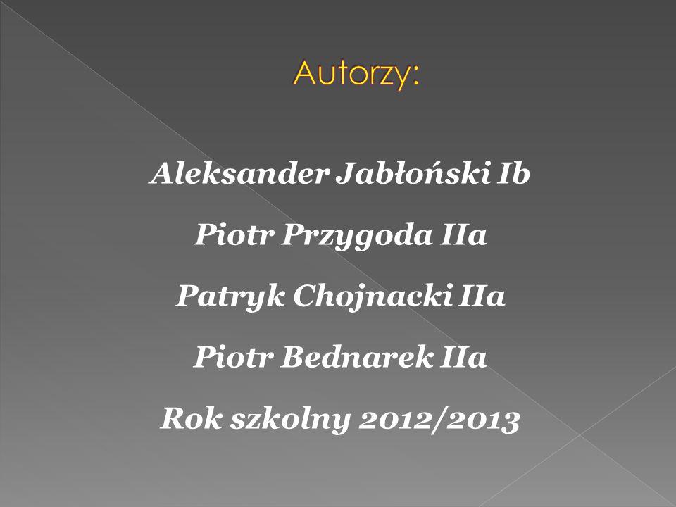 Aleksander Jabłoński Ib Piotr Przygoda IIa Patryk Chojnacki IIa Piotr Bednarek IIa Rok szkolny 2012/2013
