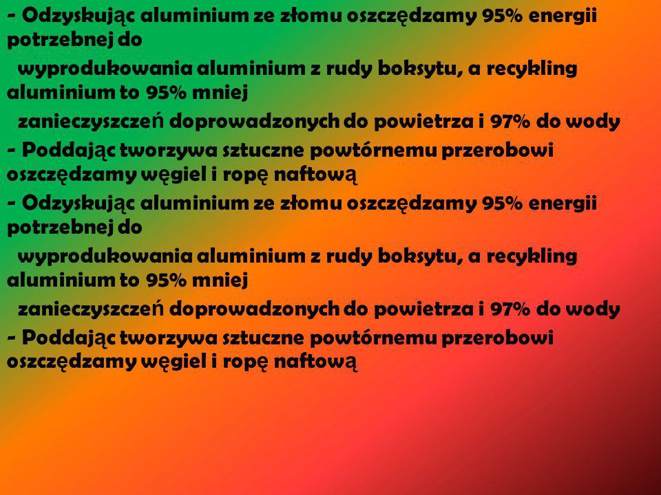 - Odzyskuj ą c aluminium ze złomu oszcz ę dzamy 95% energii potrzebnej do wyprodukowania aluminium z rudy boksytu, a recykling aluminium to 95% mniej zanieczyszcze ń doprowadzonych do powietrza i 97% do wody - Poddaj ą c tworzywa sztuczne powtórnemu przerobowi oszcz ę dzamy w ę giel i rop ę naftow ą - Odzyskuj ą c aluminium ze złomu oszcz ę dzamy 95% energii potrzebnej do wyprodukowania aluminium z rudy boksytu, a recykling aluminium to 95% mniej zanieczyszcze ń doprowadzonych do powietrza i 97% do wody - Poddaj ą c tworzywa sztuczne powtórnemu przerobowi oszcz ę dzamy w ę giel i rop ę naftow ą