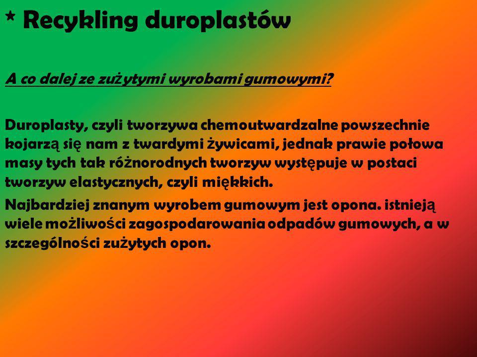* Recykling duroplastów A co dalej ze zu ż ytymi wyrobami gumowymi.