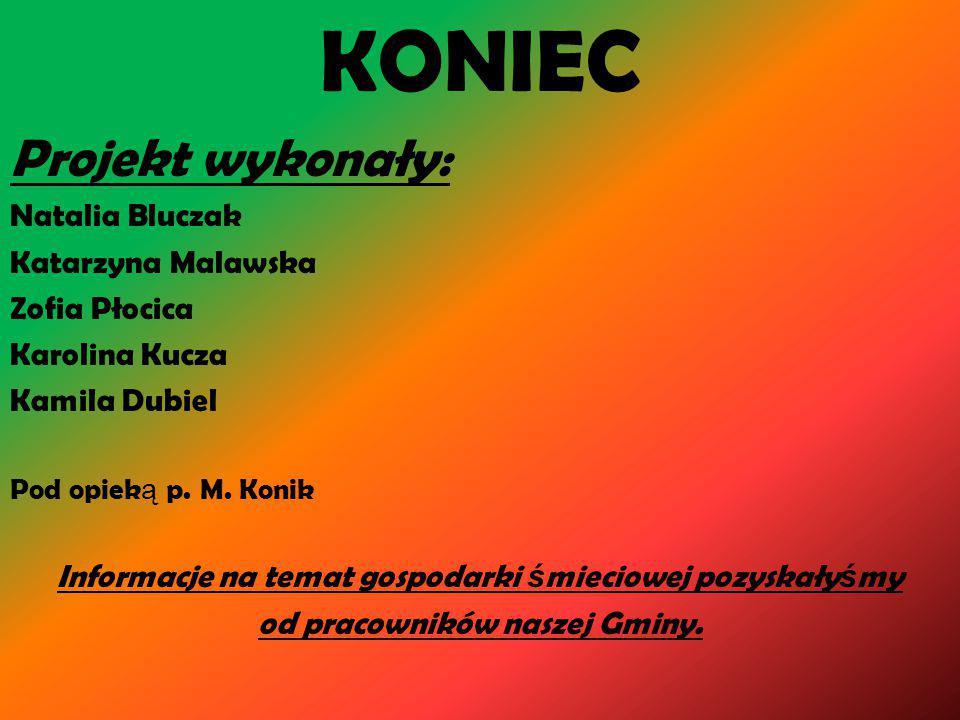 KONIEC Projekt wykonały: Natalia Bluczak Katarzyna Malawska Zofia Płocica Karolina Kucza Kamila Dubiel Pod opiek ą p.