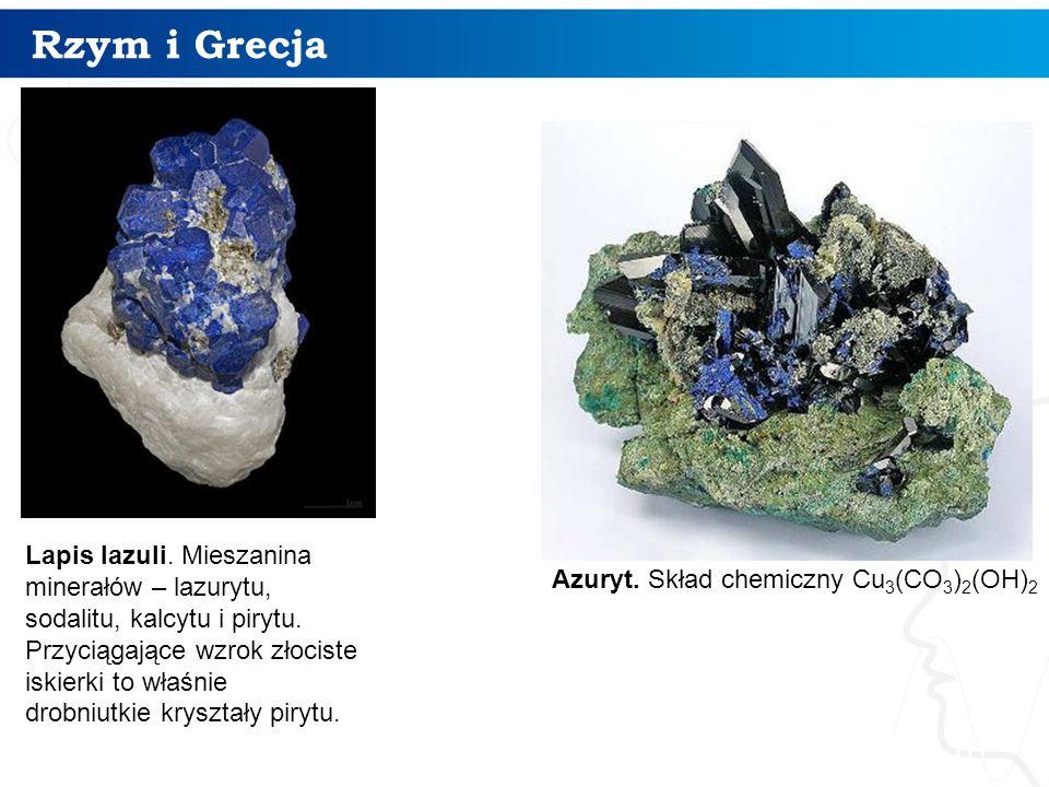 Rzym i Grecja 10 Lapis lazuli. Mieszanina minerałów – lazurytu, sodalitu, kalcytu i pirytu. Przyciągające wzrok złociste iskierki to właśnie drobniutk